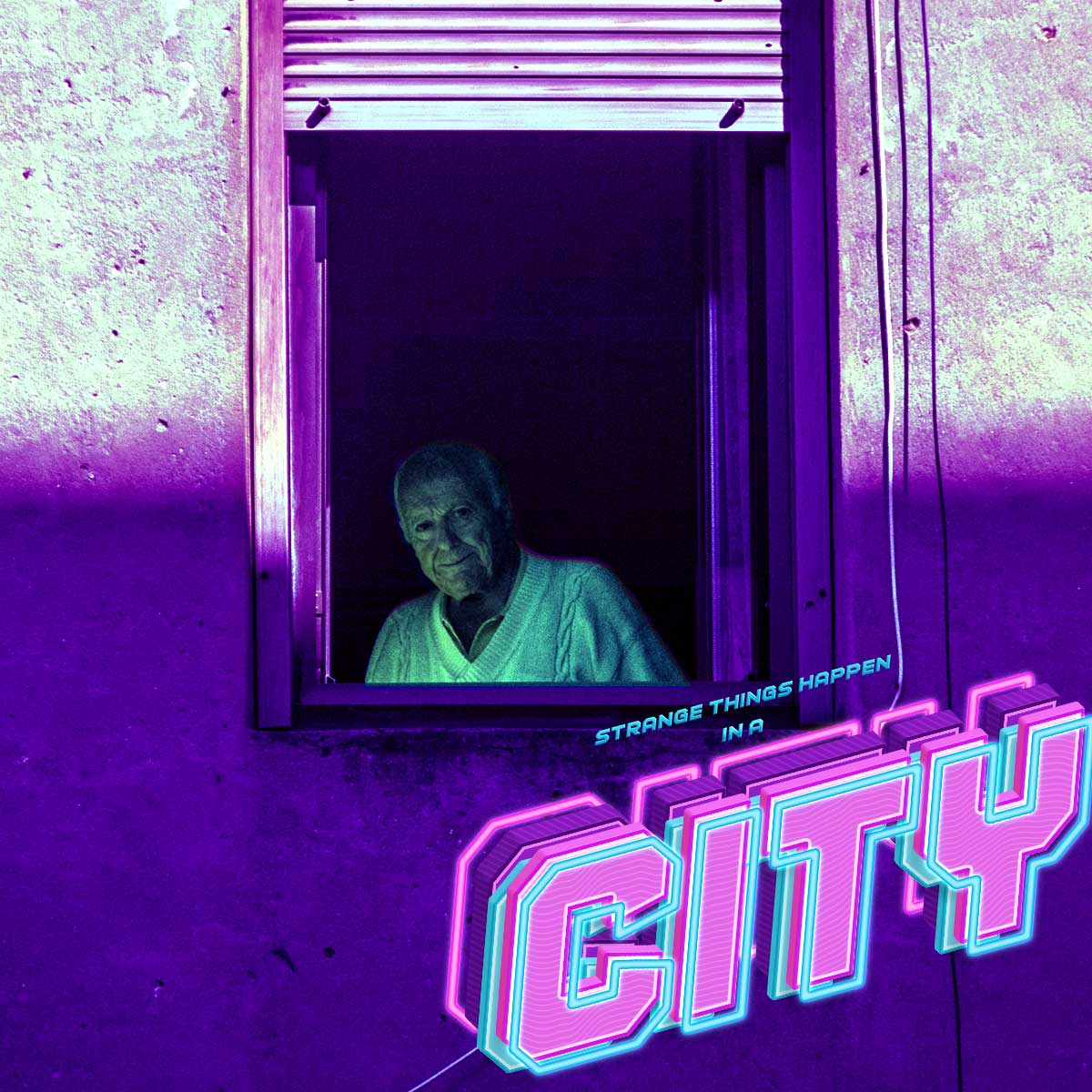 """A man stares out of a window and smiles. A logo to the bottom right says """"Strange things happen in a city"""" in a retwowave style."""