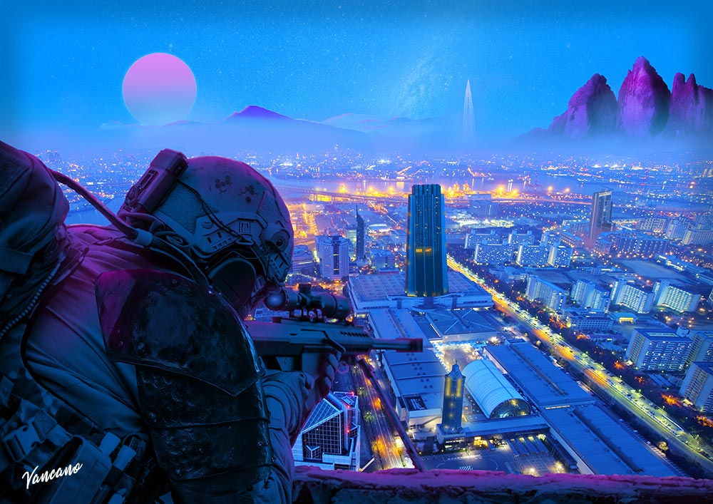A sniper looks over a city at nighttime.